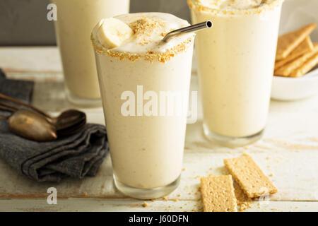 Banana and cookies milkshake - Stock Photo