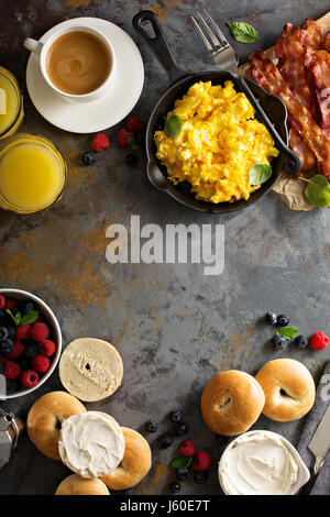 Big breakfast with bacon and scrambled eggs - Stock Photo