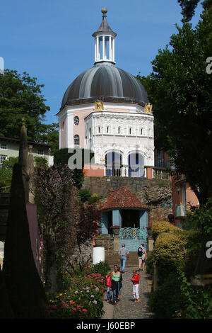 Portmeirion a fantasy village in North Wales, where 'The Prisoner' cult TV series was filmed, it was built by Sir - Stock Photo