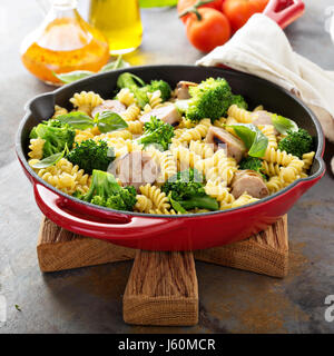 Pasta bake with sausage and broccoli - Stock Photo