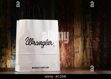 POZNAN, POLAND - NOV 25, 2016: Wrangler is an American manufacturer of jeans and other clothing items, owned by - Stock Photo