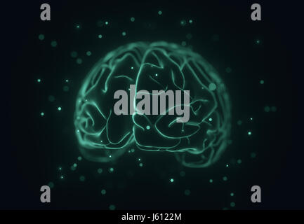 3D illustration. Stylized image of a brain inside a liquid with air bubbles around. - Stock Photo