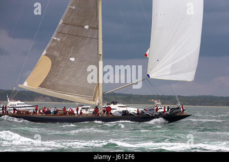 J-Class yacht 'Velsheda' (K7) in Race 2 of the J Class Solent Regatta, July 2012 at the beginning of the first run - Stock Photo