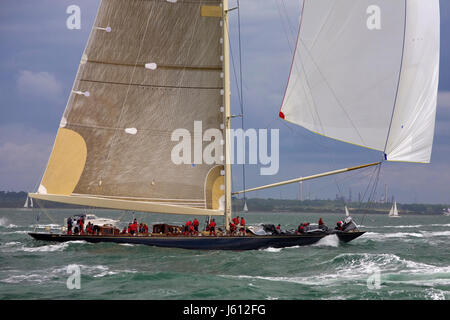 J-Class yacht 'Velsheda' (K7) in Race 2 of the J Class Solent Regatta, July 2012, during the first run back towards - Stock Photo