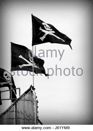 flag hang banner sign streamer firmament sky pictogram symbol pictograph trade - Stock Photo