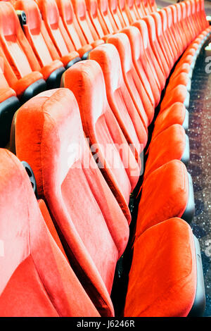 Indiana, IN, Upper Midwest, Hoosier State, Porter County, Portage, Portage 16 IMAX, movie theater complex, red, chair, seats, row, empty, folding, sig