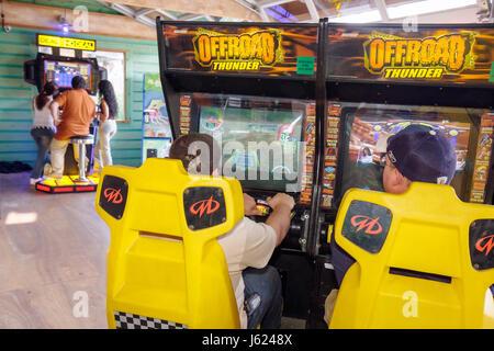 Indiana Valparaiso Zao Island Entertainment Center video game arcade boy teen fun Offroad Off Road Thunder simulator - Stock Photo