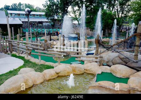 Indiana Valparaiso Zao Island Entertainment Center miniature golf fountains family entertainment putting game recreation - Stock Photo