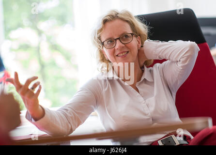 Munich, Germany. 18th May, 2017. Natascha Kohnen, the new leader of the Bavaria SPD, pictured during an interview - Stock Photo