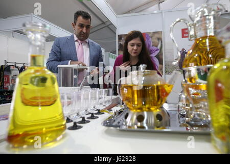 Kazan, Russia. 18th May, 2017. People attend the Russia Halal Expo exhibition as part of the 9th International Economic - Stock Photo