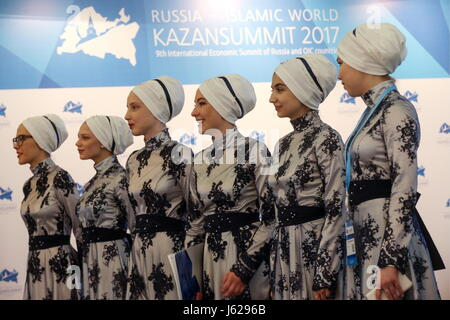 "Kazan, Russia. 18th May, 2017. Participants in the 9th International Economic Summit titled ""Russia — Islamic World: - Stock Photo"