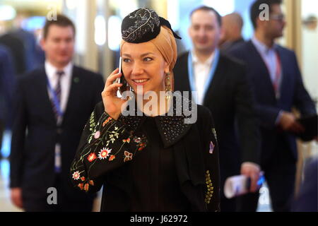 """Kazan, Russia. 18th May, 2017. A participant in the 9th International Economic Summit titled """"Russia — Islamic World: - Stock Photo"""