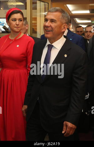 Kazan, Russia. 19th May, 2017. President of the Republic of Tatarstan, Rustam Minnikhanov, attends the 9th International - Stock Photo