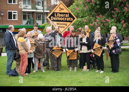 Stockport, UK. 19th May, 2017. People, believed to be Liberal Democrat Party activists, attend a Liberal Democrat - Stock Photo