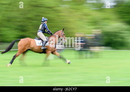Rockingham Castle grounds, Corby, UK. 19th May, 2017. The horse 'Avocado' ridden by Scarlett Wills hurtles past - Stock Photo