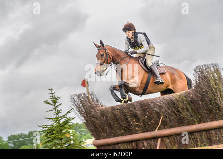 Rockingham Castle grounds, Corby, UK. 19th May, 2017. The horse 'Belle Boudier jumps a fence on a rainy and overcast - Stock Photo
