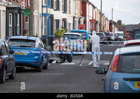 Liverpool, UK. 19th May, 2017. A 26-year-old man is reported to have been shot multiple times in an incident described - Stock Photo