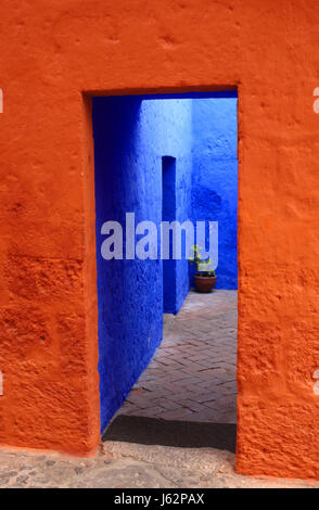 blue entrance door wall style of construction architecture architectural style - Stock Photo