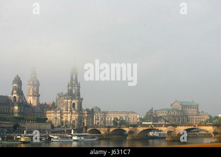 fog Dresden chapel of a palace elbe chateau castle house building tower woman - Stock Photo