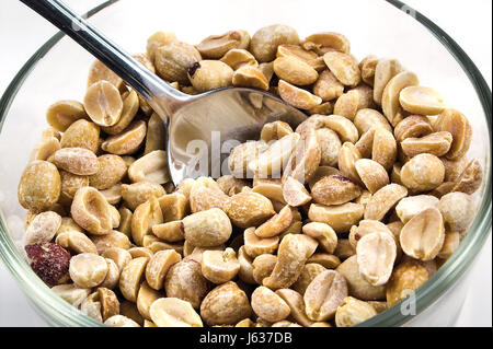 food aliment peanuts peanut dry dried up barren nutrition spoon roasted parched - Stock Photo