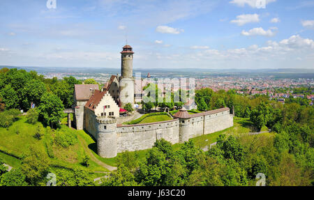 Aerial view on Altenburg Castle - historic hilltop castle near Bamberg, Bavaria, Germany - Stock Photo