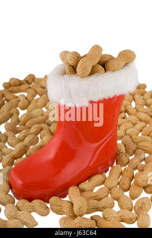 boot peanuts boot belief advent party celebration gift nicholas tradition nut - Stock Photo