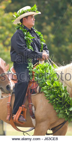 1bcdcb56 ... Man on horseback wearing maile lei and cowboy hat riding in the 33rd Annual  Waimea Paniolo