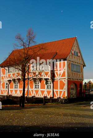 bridge Northern Germany gabled house bike bicycle cycle house building - Stock Photo