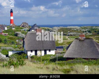 lighthouse hrnum on sylt - Stock Photo