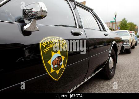 Vintage Wyoming Highway Patrol police car - USA - Stock Photo