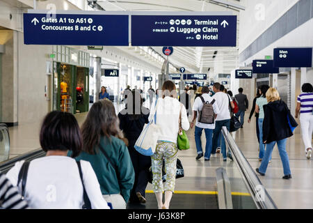 Michigan Detroit DTW Detroit Metropolitan Wayne County Airport transportation terminal gate arrival departure concourse - Stock Photo