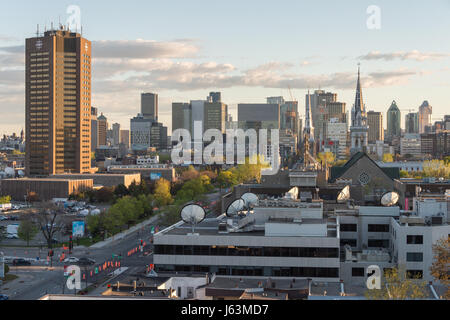 Montreal, CA - 15 May 2017: Montreal Skyline from Jacques-Cartier Bridge - Stock Photo