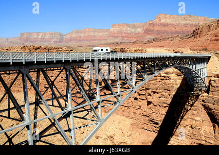holiday vacation holidays vacations bridge usa america arizona camper drive - Stock Photo