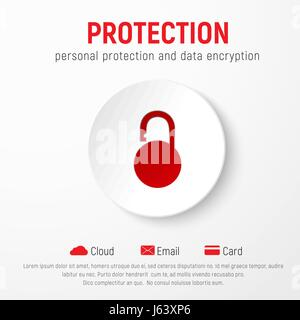 Template of white web banner with button and icon of red open weightless lock for protection of personal data, bank - Stock Photo