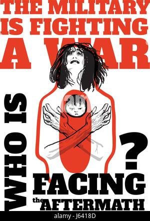 International Day of Innocent Children Victims of Aggression, June 4. Pacifist poster with a weeping woman holding - Stock Photo
