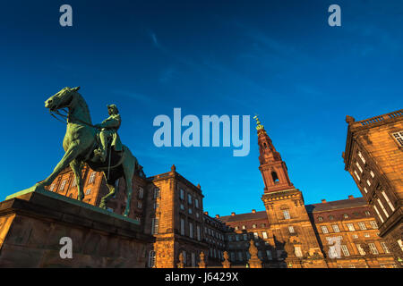 Equestrian statue of King Christian the 9th Copenhagen Denmark Inside the Danish Parliament Christiansborg palace - Stock Photo