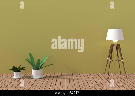 minimalist houseplant in empty soft green room with wooden floor in 3D rendering - Stock Photo