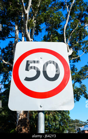 Road sign 50 speed limit, New South Wales, NSW, Australia - Stock Photo