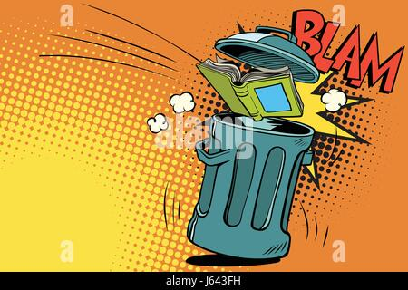 book thrown in the trash. Comic book cartoon pop art retro color vector illustration hand drawn - Stock Photo