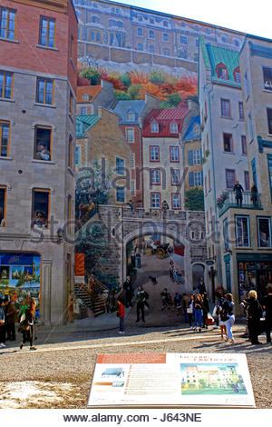 Quebec Ville, Rue Notre Dame, Fresque Historique Des Quebecois *** Wall  Mural