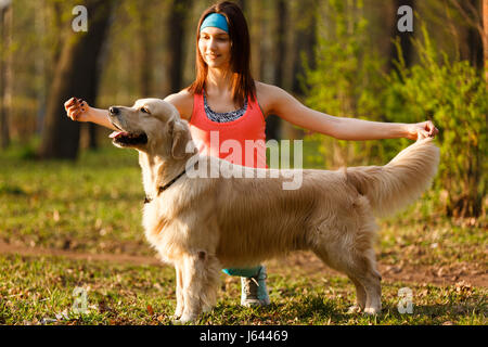 Woman teaching dog in park - Stock Photo