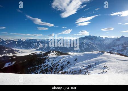 Schmitten winter ski slopes of Zell am See resort - Stock Photo