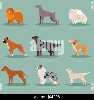 Dog flat icons set - Stock Photo