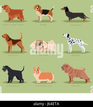 Dog flat icons set - Stock Photo