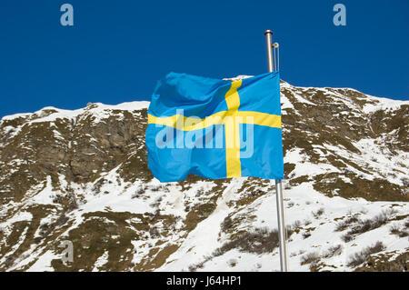 symbolic snow coke cocaine material drug anaesthetic addictive drug sweden flag - Stock Photo