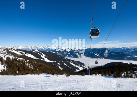 Cable car going to Schmitten ski resort in Zell Am See, Austria - Stock Photo