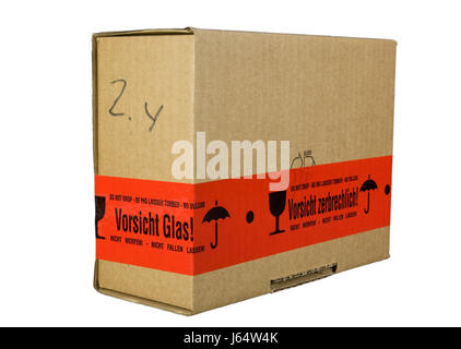 isolated careful caution parcel fragile pack packing packaging stock