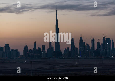 Dubai Skyline from Meydan Hotel. - Stock Photo