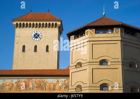tower historical bavaria germany german federal republic munich emblem tower - Stock Photo