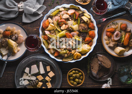 Kasul, cheese, wine, vegetables on the table closeup - Stock Photo